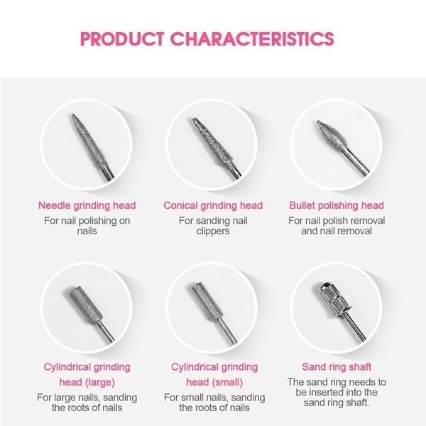 DIY Fashion Unisex Salon Stainless Steel Electric Manicure Machine Accessories Set Drill Bits Sand Grinding  14Pcs/ Set