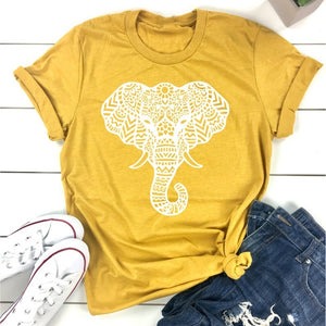 Women Fashion Elephant Print T-shirt Summer Short Sleeve Animal Art Graphic Tee Casual Round Neck Hippie Boho Tops Shirt Elephant Lover Gifts Plus Size
