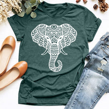 Load image into Gallery viewer, Women Fashion Elephant Print T-shirt Summer Short Sleeve Animal Art Graphic Tee Casual Round Neck Hippie Boho Tops Shirt Elephant Lover Gifts Plus Size