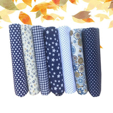 Load image into Gallery viewer, 7PCS Small Floral Cotton Fabrics Handmade DIY Dark Blue Series Hand Material Cloth Group for Bags Patchwork Sewing Bedding