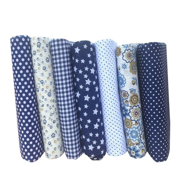 7PCS Small Floral Cotton Fabrics Handmade DIY Dark Blue Series Hand Material Cloth Group for Bags Patchwork Sewing Bedding
