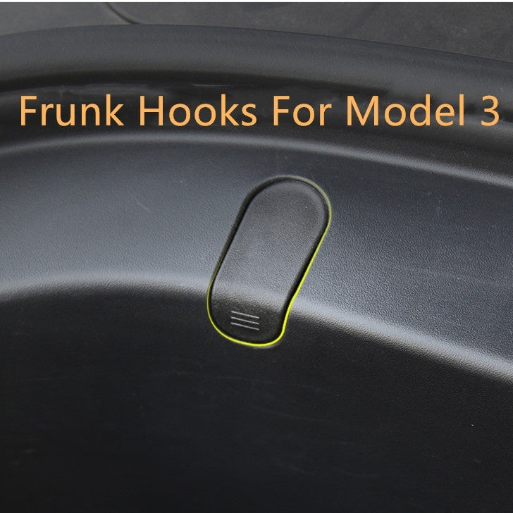 A set Frunk Hooks Hanger Grocery Bag Cargo Hook Holder Cover For Tesla Model 3
