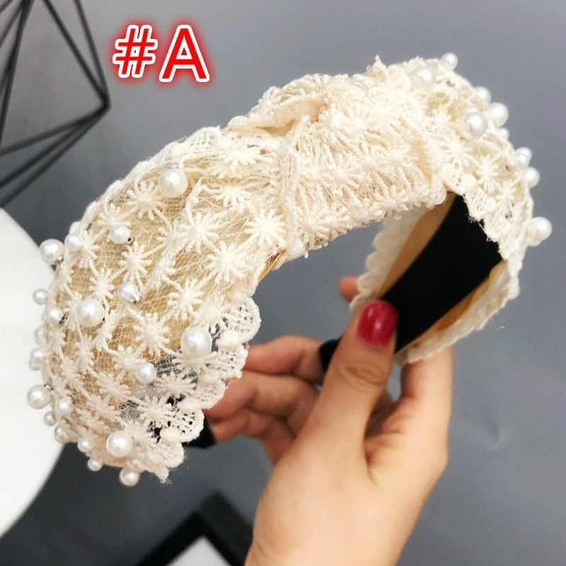 Fashion Girls Pearl Hairband White Lace Headband Women Artificial Pearls Hair Hoop Middle Knot Hair Accessories