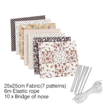 Load image into Gallery viewer, DIY Mask Kit Printed Patchwork Elastic Rope Nosebridge Mask Accessories