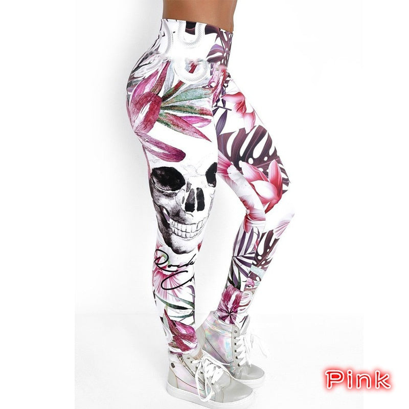 Sports Fashion High Waisted Leggings for Women Flowers and Skull   Printed Yoga Leggings Fantastic High-rise Workout Fitness Yoga Pants Trousers