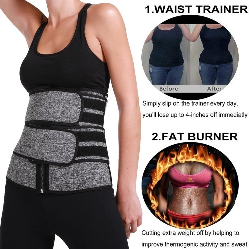 Men and Women Saunas Suit Body Shaper Waist Trainer Exercise Neoprene Belt Abdomen Fat Burning Compression Girdle Slimming Shapewear Sweat Belt Fajas Cintas Modeladoras