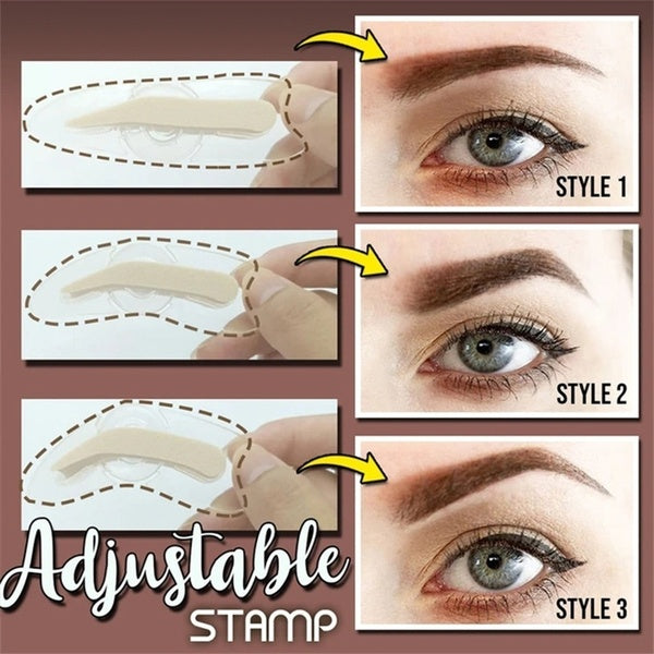 1PC Professional Brow Stamp Stencil with Handle 3 Shape Eyebrow Template Lazy Quick Makeup Tool