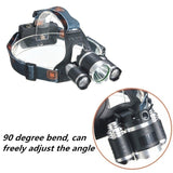 3 LED XM-L2 T6 Headlamp Headlight 999000000LM 3*T6 XM-L T6 Head-mounted Waterproof Flashlight Head Bike Lamp Outdoor Lights +Charger +Car Charger 2x18650 Batter