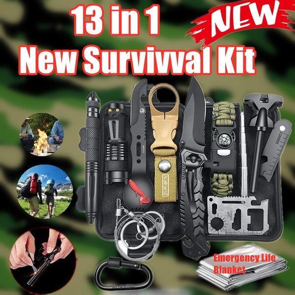 2020 New Emergency Survival Kit 13 in 1, Outdoor Survival Gear Tool with Survival Bracelet, Folding Knife, Emergency Blanket, Fire Starter, Whistle, Tactical Pen for Camping, Hiking, Climbing
