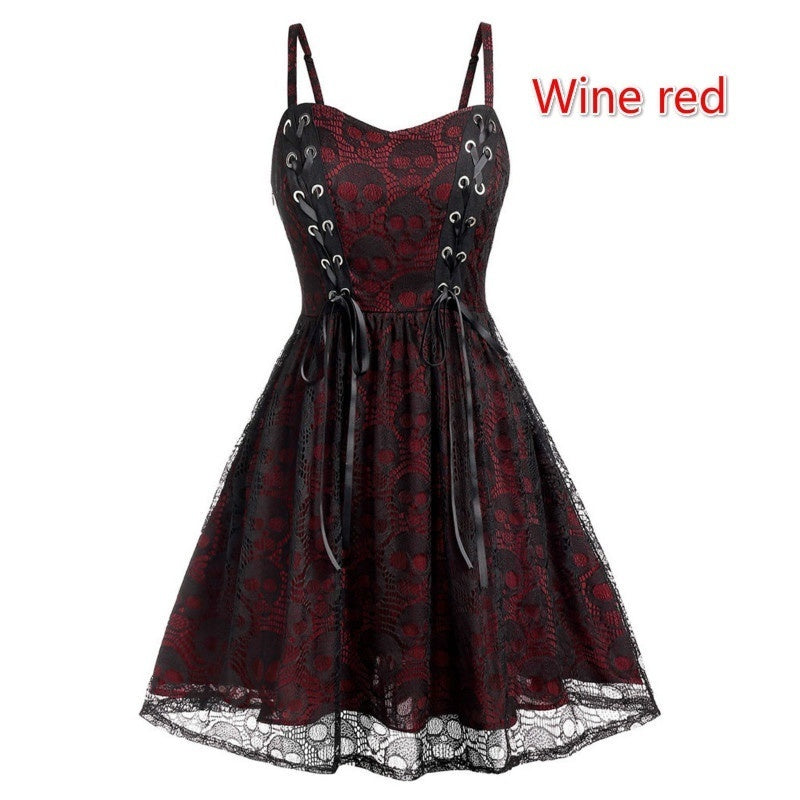 2020 Black Gothic Plus Size Halloween Lace Mesh Patchwork Sleeveless Camisole Party Dress Casual Women Elegant Dresses