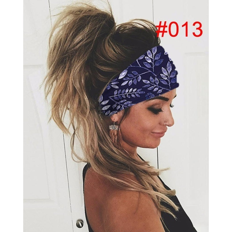 Women Fashion Sport 3D Print Stretchy Sweat-absorbent Headband Breathable Quick Dry Yoga Running Hair Band Elastic Chic Non-slip Turban Headwraps