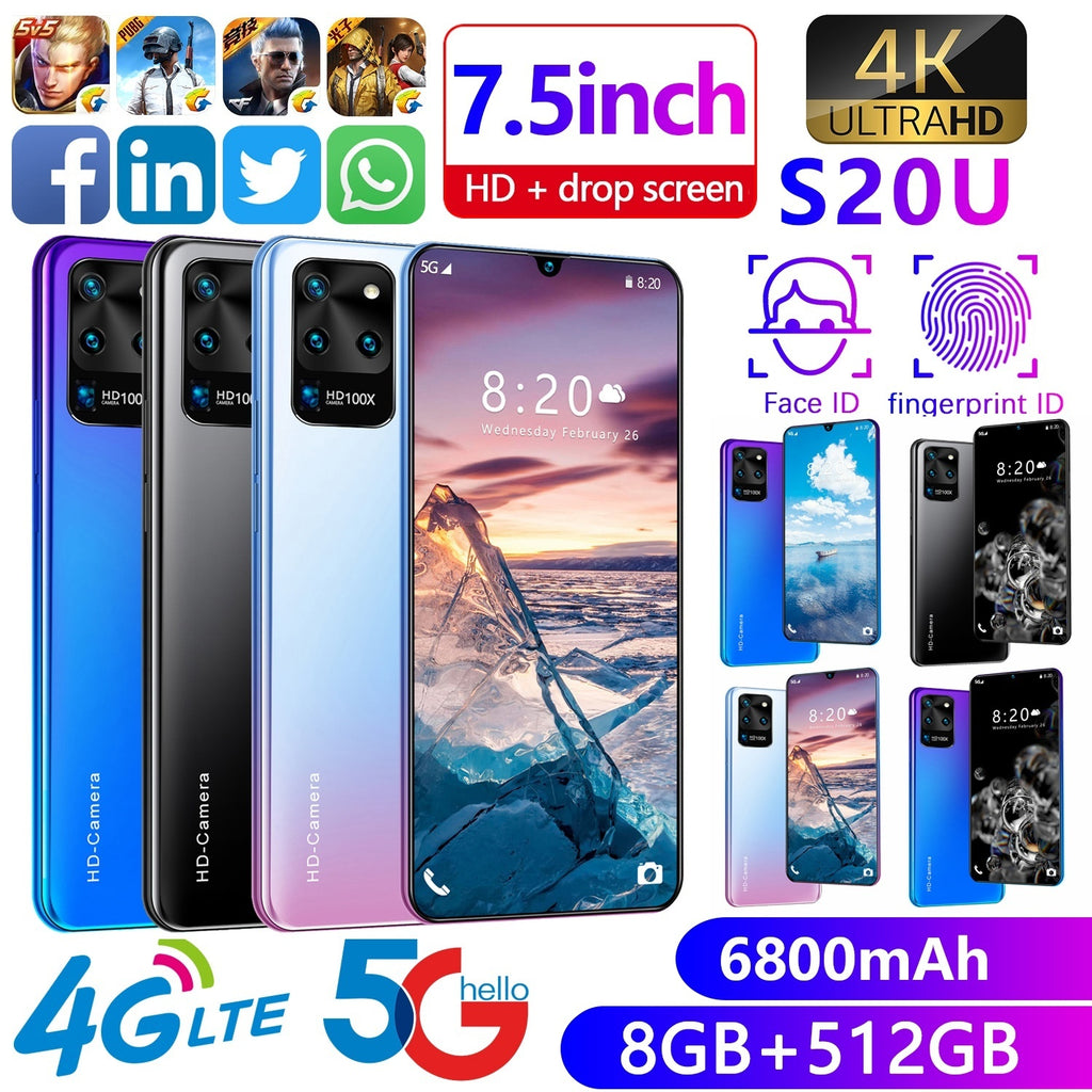 2020 New Fashion 7.5 Inch Smartphone 8GB RAM+512GB ROM Large Memory Dual SIM Cards Support T Card Face Access 4G/5G 7.5 Inch U Display Mobile Phone