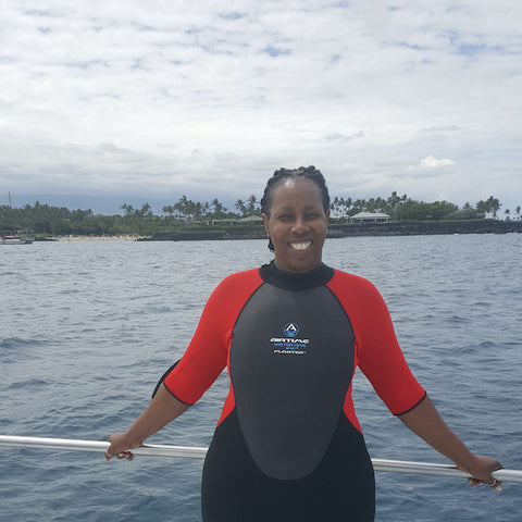 Lisa Robinson uses her Floater wetsuit in Hawaii to swim without fear