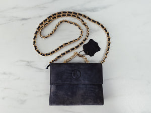 90s Grey Charcoal Suede Leather Mini Shoulder bag