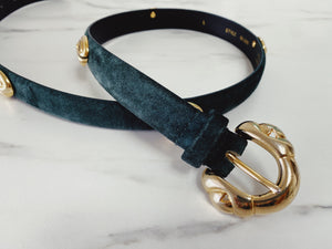 Vintage Morgan Taylor Green Suede Belt