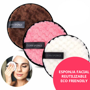 ESPONJA DESMAQUILLANTE REUTILIZABLE ECO-FRIENDLY + ENVÍO GRATIS 😍