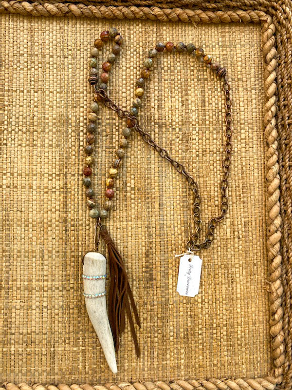 Handmade Boho Horn Leather Tassel Necklace
