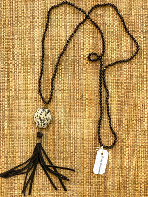 Handmade Black Leather Tassel Necklace