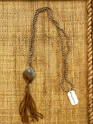 Handmade Brown/Cream Leather Tassel Necklace