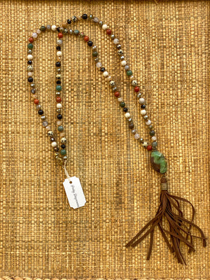 Handmade Small Stone Leather Tassel Necklace