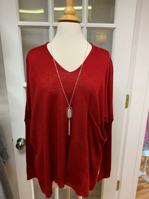 Slouchy Pocket Lightweight Sweater in Red