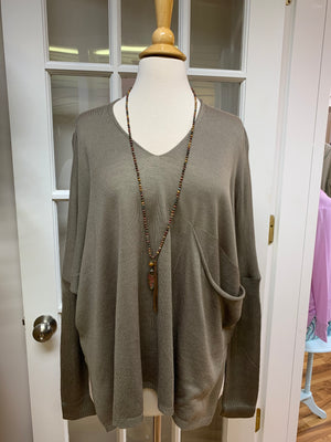 Slouchy Pocket Lightweight Sweater in Taupe