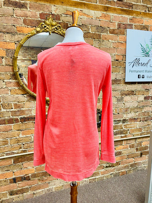 Solid Thermal Weave Top in Coral