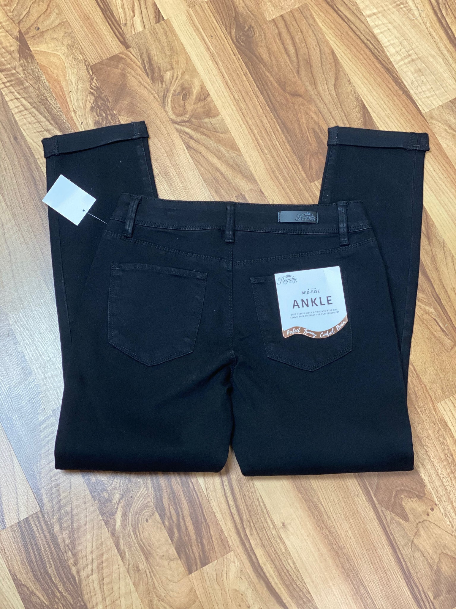 Black Denim Zip Front Roll Cuffed Ankle Pant