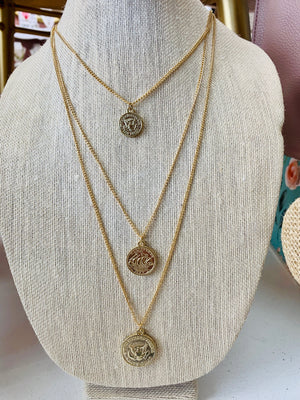 Layered Coin Necklace in Gold