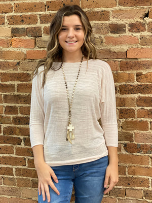 Slub Knit Dolman Sleeve Top in Ivory
