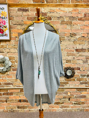 Knit Dolman Sleeve Open Front Cardigan in Sage