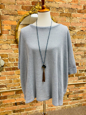Knit Round Neck 3/4 Dolman Sleeve Top in Light Blue