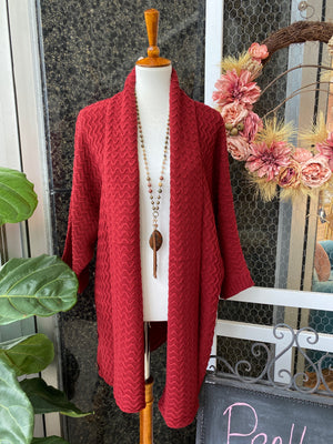 Cozy Cardigan in Cranberry Red