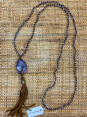 Handmade Navy Leather Tassel Necklace