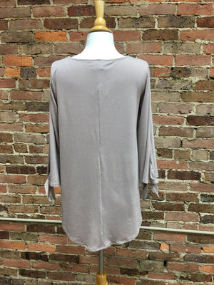 Mocha Split Sleeve Top
