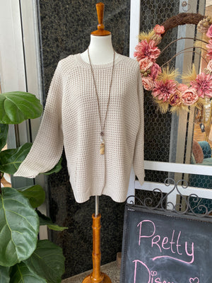 Side Button Sweater in Oatmeal