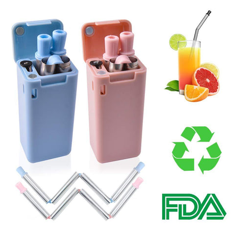 Collapsible Stainless Steel Folding Drinking Straws with Cleaning Brush