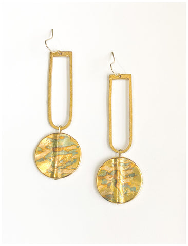 Brilliance - Gilded Brass and Hammered Brass Earrings