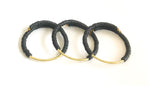 Simple - Set of 3 Polymer Clay, Memory Wire Bracelets, With Curved, Brass Bars