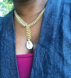 Abundantly Yours - Fishtail Chain and Cowrie Shell Y-Necklace