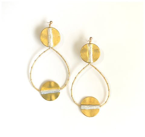Silver & Gold - Gold-Plated and Silver-Leaf, Beaded, Hoop Earrings