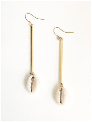 Simple Life - Cowrie Shell and Gold-Plated, Bar Earrings
