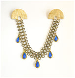Blue Mood - Vintage Gem, Chain and Gold Plated, Collar Pin