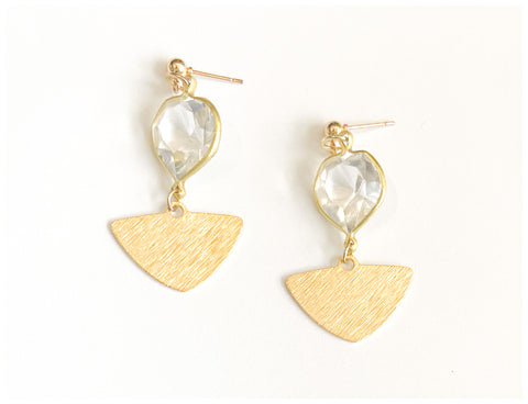 Easy - Faceted Glass and Gold-Plated, Triangle Earrings