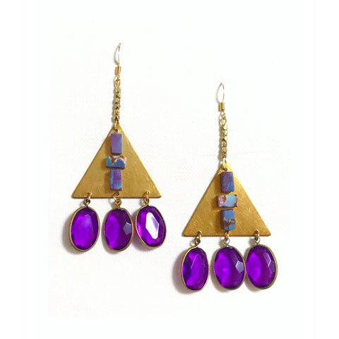 Which Path -  Vintage Gem, Brass Triangle, Multi-Colored Bead and Brass Bead Earrings