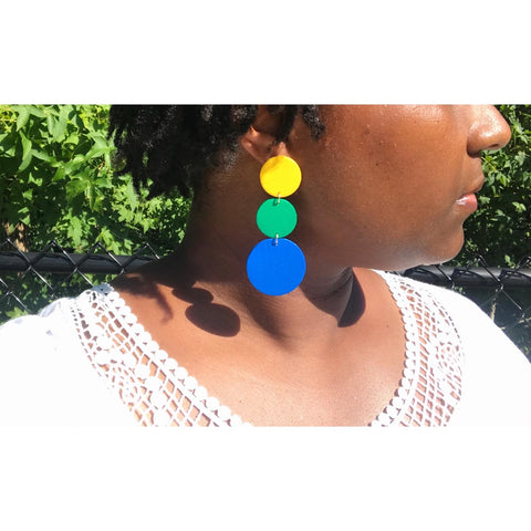 Simply Circles - Hand-Painted, Wood, Circle Earrings