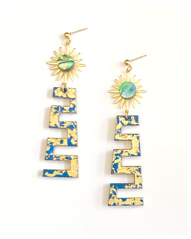 Ablaze - Painted and Gilded Wood Earrings, With Gold-Plated Suns and Abalone