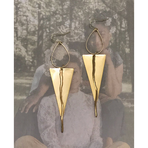 """Nature"" Lightweight, Gold-Plated Triangle and Brass Earrings"