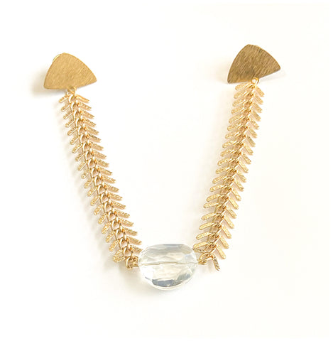 Back Then - Chain, Faceted Glass and Gold-Plated, Triangle Collar Pin