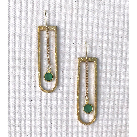 Daily Dose - Hammered Brass, Chain and Vintage, Gem Earrings
